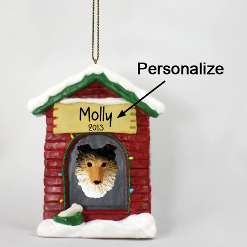 Shetland Sheepdog Personalized Dog House Christmas Ornament