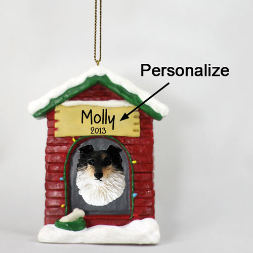 Shetland Sheepdog Personalized Dog House Christmas Ornament Tricolor