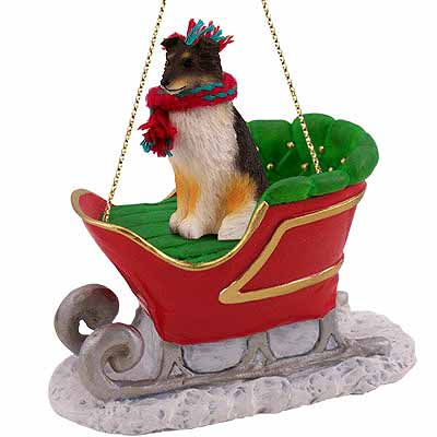 Shetland Sheepdog Sleigh Ride Christmas Ornament Tricolor