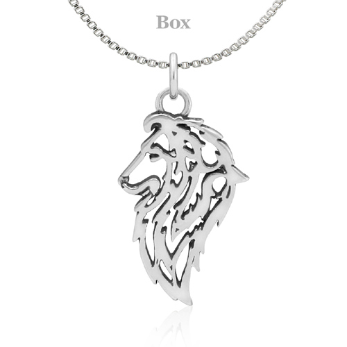 Sterling Silver Shetland Sheepdog Head Necklace