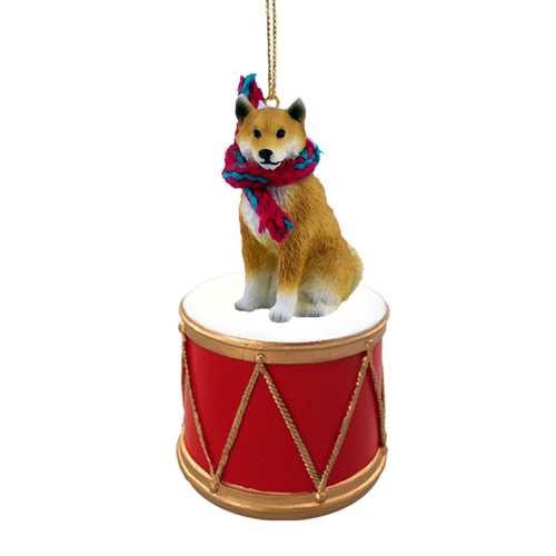 Little Drummer Shiba Inu Christmas Ornament