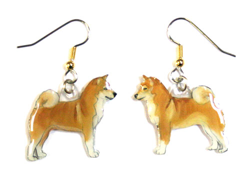 Shiba Inu Earrings Hand Painted Acrylic