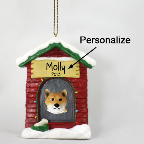 Shiba Inu Personalized Dog House Christmas Ornament