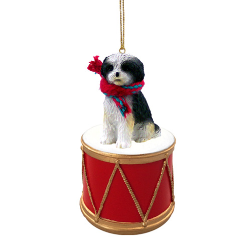 Little Drummer Shih Tzu Black-White Sport Cut Christmas Ornament