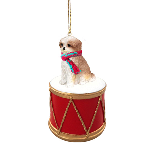 Little Drummer Shih Tzu Tan Sport Cut Christmas Ornament