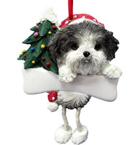 Shih Tzu Christmas Tree Ornament - Personalize (Puppy Cut)