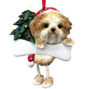 Shih Tzu Christmas Tree Ornament - Personalize (Tan Puppy Cut)