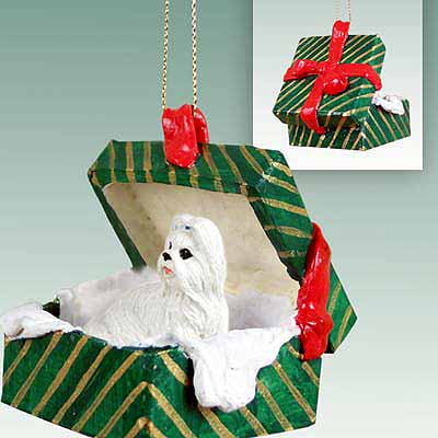 Shih Tzu Gift Box Christmas Ornament White