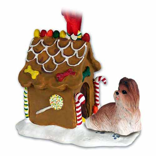 Shih Tzu Gingerbread House Christmas Ornament Tan