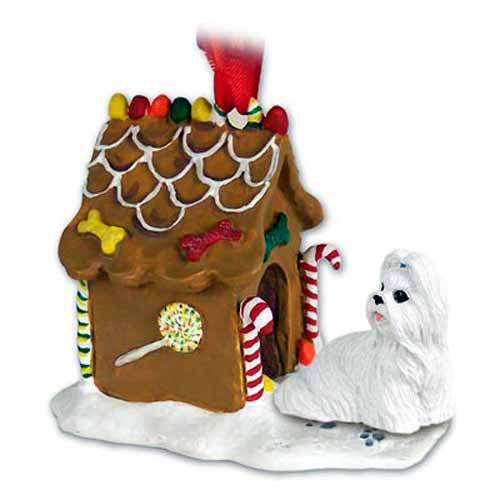 Shih Tzu Gingerbread House Christmas Ornament White