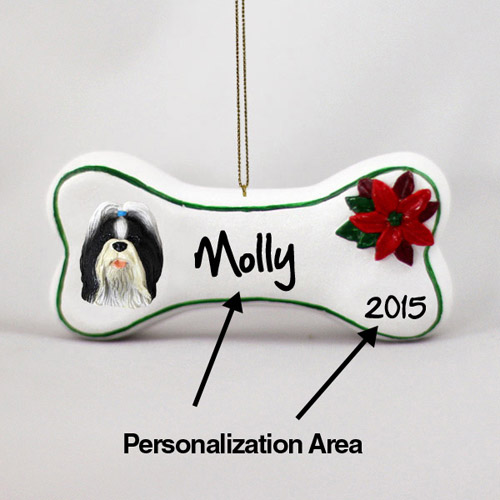 Shih Tzu Personalized Dog Bone Christmas Ornament
