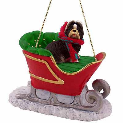 Shih Tzu Sleigh Ride Christmas Ornament Black-White