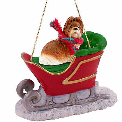 Shih Tzu Sleigh Ride Christmas Ornament Tan