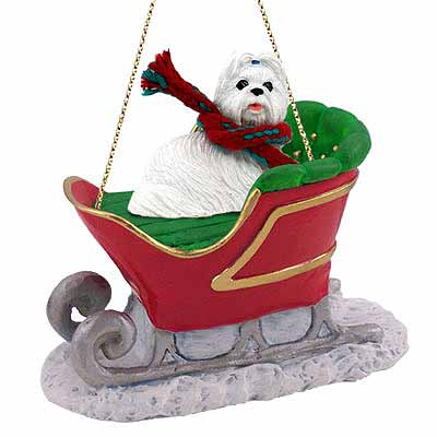 Shih Tzu Sleigh Ride Christmas Ornament White