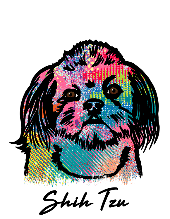 Shih Tzu T Shirt Colorful Abstract