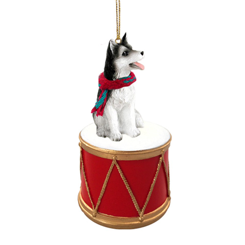 Little Drummer Siberian Husky Black-White Brown Eyes Christmas Ornament