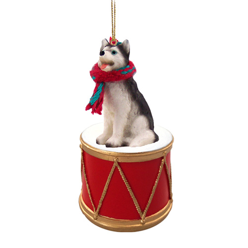 Little Drummer Siberian Husky Christmas Ornament