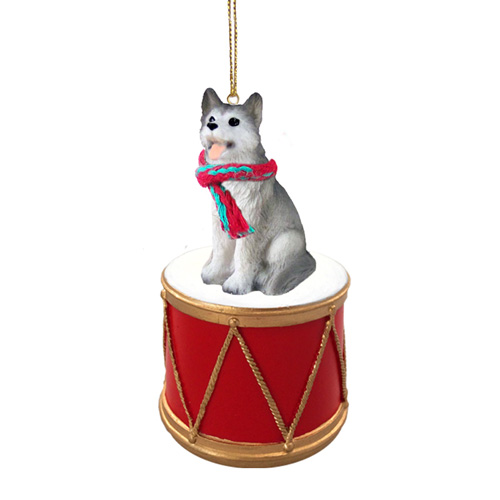 Little Drummer Siberian Husky Gray-White Brown Eyes Christmas Ornament