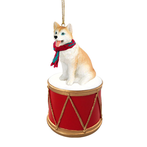 Little Drummer Siberian Husky Red-White Blue Eyes Christmas Ornament