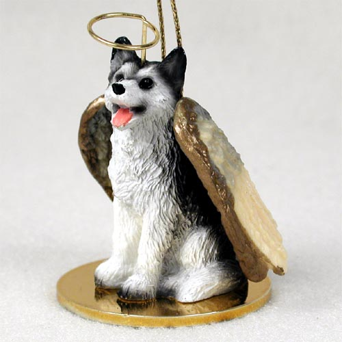 Siberian Husky Angel Ornament Black-White Brown Eyes