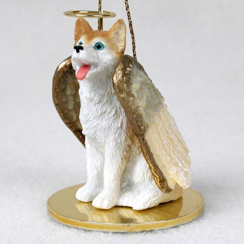 Siberian Husky Angel Ornament Red-White Blue Eyes