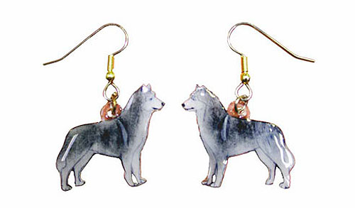 Siberian Husky Earrings Black Hand Painted Acrylic