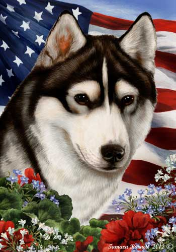 Siberian Husky House Flag Black-White