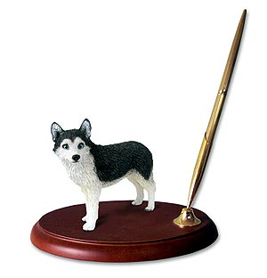 Siberian Husky Pen Holder (Blue Eyed)