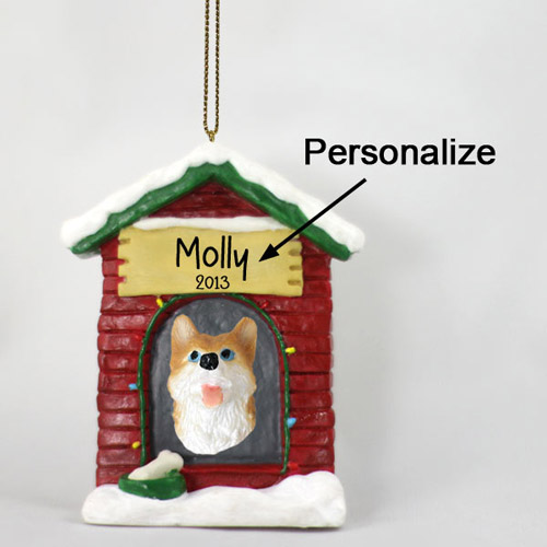 Siberian Husky Personalized Dog House Christmas Ornament Red-White Blue Eyes