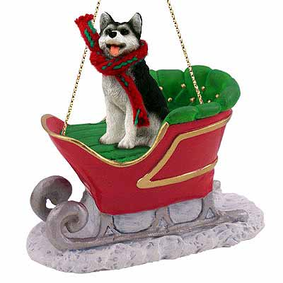 Siberian Husky Sleigh Ride Christmas Ornament Black-White Brown Eyes