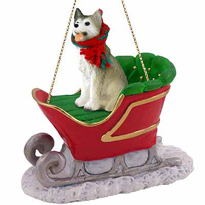 Siberian Husky Sleigh Ride Christmas Ornament Gray-White Brown Eyes