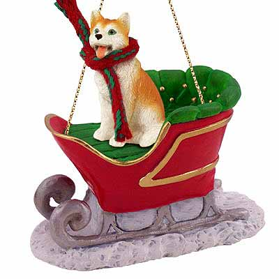 Siberian Husky Sleigh Ride Christmas Ornament Red-White Blue Eyes