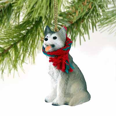 Siberian Husky Tiny One Christmas Ornament Gray-White Brown Eyes