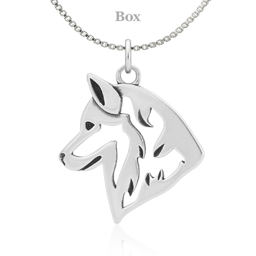 Sterling Silver Siberian Husky Necklace