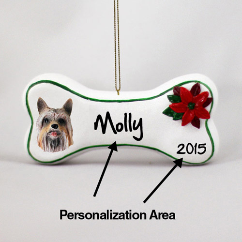 Silky Terrier Personalized Dog Bone Christmas Ornament