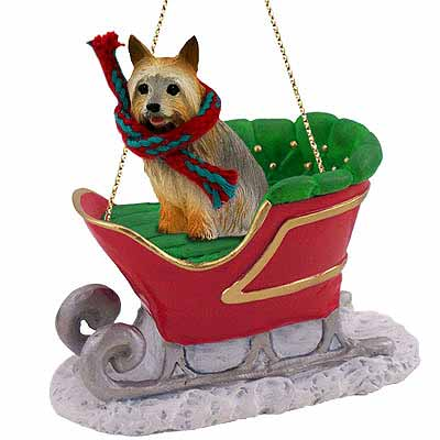Silky Terrier Sleigh Ride Christmas Ornament