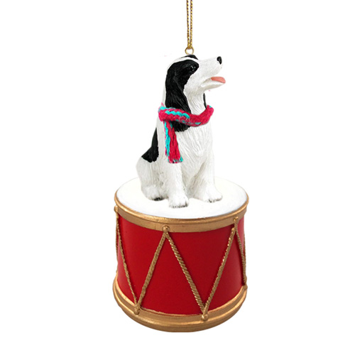 Little Drummer Springer Spaniel Black-White Christmas Ornament