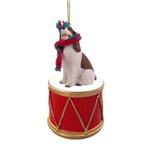 Little Drummer Springer Spaniel Liver-White Christmas Ornament