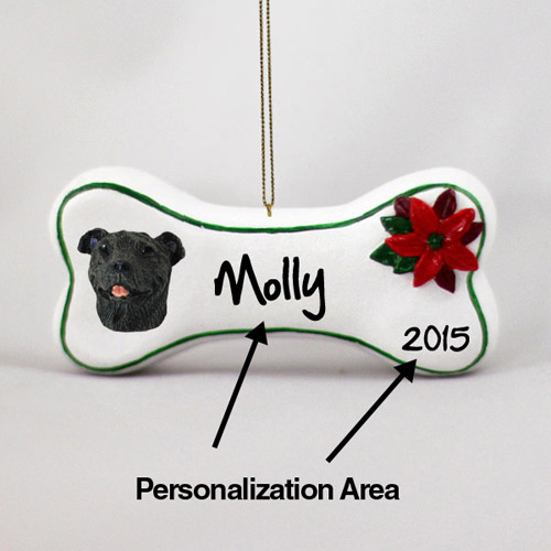 Staffordshire Bull Terrier Personalized Dog Bone Christmas Ornament