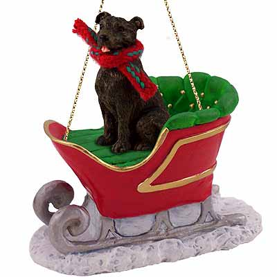 Staffordshire Bull Terrier Sleigh Ride Christmas Ornament Brindle