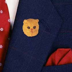 Red Persian Cat Pin Hand Painted Resin