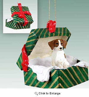 Brittany Gift Box Christmas Ornament Brown-White