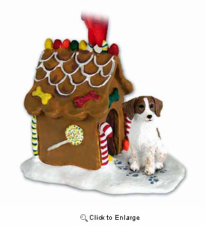 Brittany Gingerbread House Christmas Ornament Brown-White