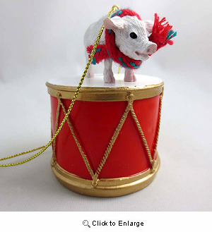 Little Drummer Pink Pig Christmas Ornament