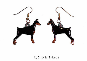 Doberman Pinscher Earrings Black/Cropped Hand Painted Acrylic