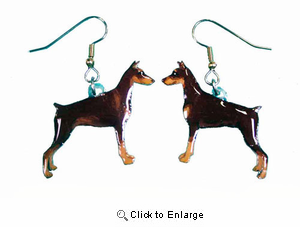 Doberman Pinscher Earrings Red Cropped Hand Painted Acrylic