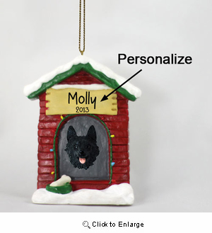Schipperke Personalized Dog House Christmas Ornament