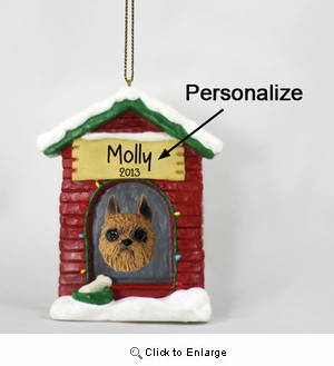 Brussels Griffon Personalized Dog House Christmas Ornament