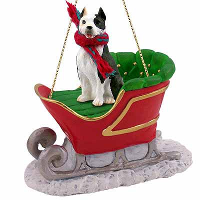 Pit Bull Terrier Sleigh Ride Christmas Ornament Brindle ...