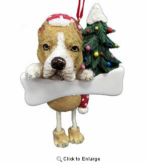 Pit Bull Christmas Tree Ornament - Personalize